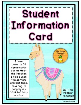 Student Information Contact Card in Llama Theme