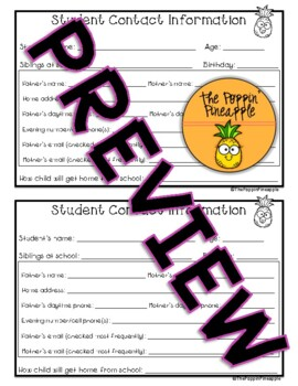 Student Information Contact Card in Pineapple Theme