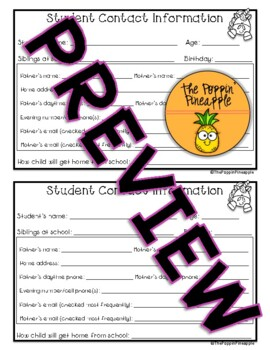 Student Information Contact Card in Unicorn Theme
