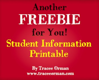 Free Student Information Contact Sheet