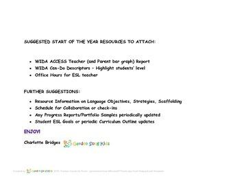 Student Information File - ESL ELL Student Snapshot - Teacher ESL Quick List
