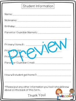 Student Information Form, Parent Communication
