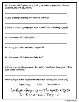 Student Information Form | Editable