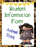 Student Information Form - Animal Print