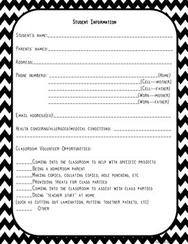 Student Information Form--B&W Chevron