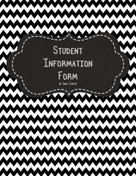 Student Information Form--B&W Chevron