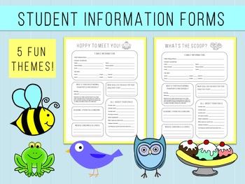 Student Information Form - Back to School Night Owl Bird Frog Bee Ice Cream Set