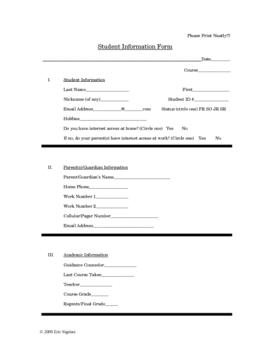 Student Information Form - Complete