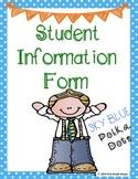 Student Information Form - Polka Dots - Sky Blue