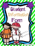 Student Information Form - Sports Theme