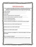 Student Information Form for Early Years