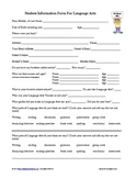 Student Information Form for Language Arts