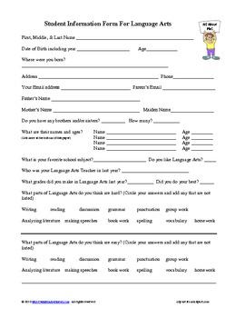 Student Information Form for Language Arts
