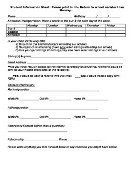 Student Information Form for Parents to Complete