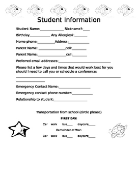 Student Information Form for Parents to Fill Out