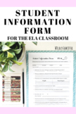 Student Information Form for the ELA Classroom