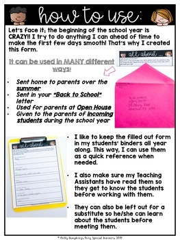 Student Information Forms for the Special Ed. Classroom