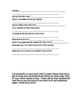 Student Information Gathering Sheet