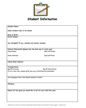Student Information Handout/Back to School