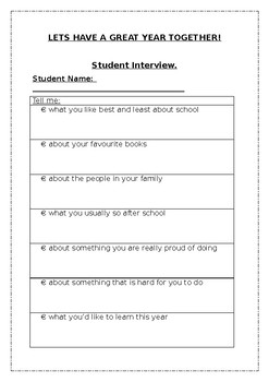 Student Information Interviews, Letters and Parents Questionnaire