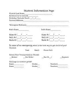 Student Information Page