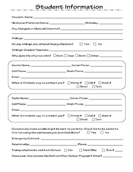 Student Information & Parent Questionnaire Form