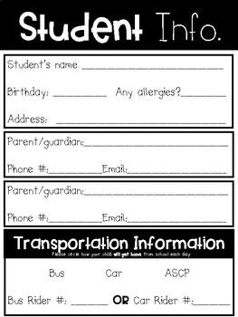Student Information & Parent Volunteer Forms