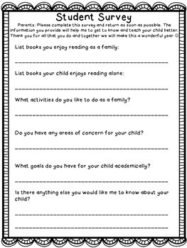 Student Information, Parent Volunteer, and Student Survey Sheets