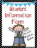 Student Information - Polka Dots - Black