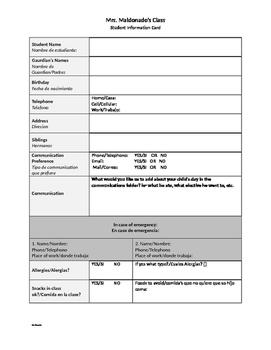 Student Information Questionnaire