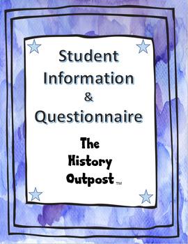 Student Information & Questionnaire Sheet
