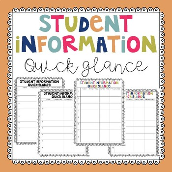 Student Information Quick Glance