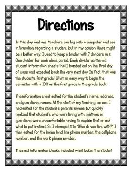 Student Information Recording Sheet