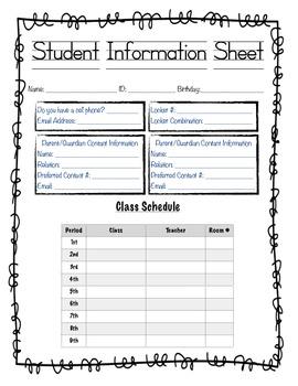 FREE: Student Information Sheet