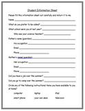 Student Information Sheet - EDITABLE