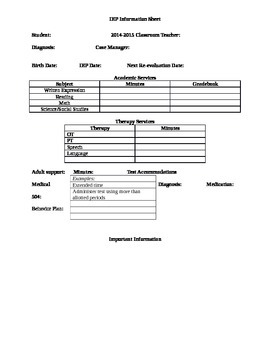 IEP Student Information Sheet