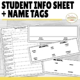 Student Information Sheet and Name Tags