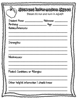 Student Information Sheet - First Day of School