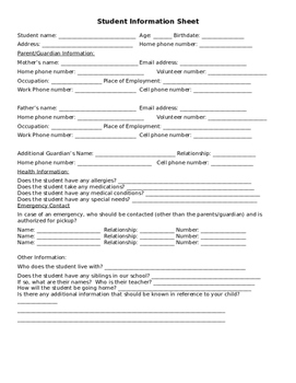 Student Information Sheet