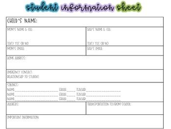 Student Information Sheet