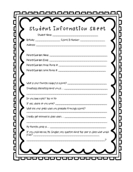 """Student Information Sheet """"All About the Author"""""""