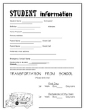 Student Information Sheet Back to School