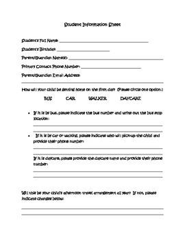Student Information Sheet (Back to School Night)