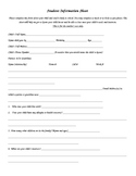 Student Information Sheet Beginning Of Year