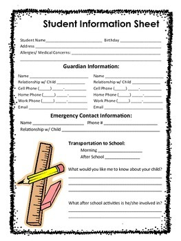 Student Information Sheet - Bilingual