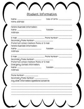 Student Information Sheet & Communication Log