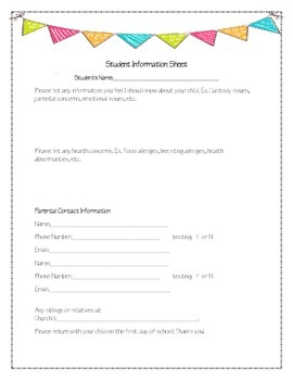 Student Information Sheet - Conference - Back to School