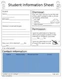 Student Information Sheet (Editable)