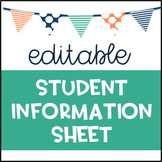 Student Information Sheet Editable