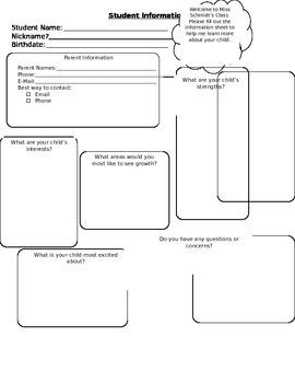 Student Information Sheet- Editable